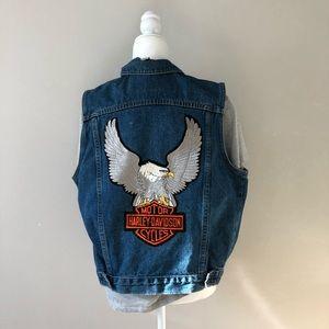 Harley-Davidson Denim Vest with Large Eagle Patch